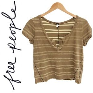 Free People We The Free Crop Stripe Slouchy Tee XS